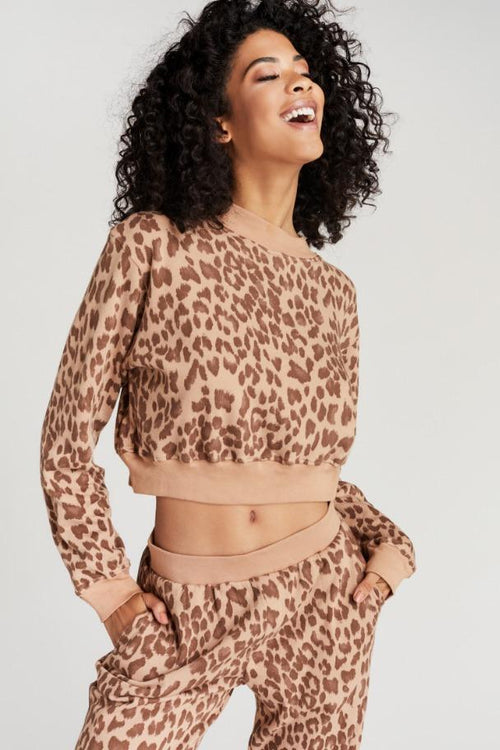 Strut This Georgie Crop Sweater Tan Freckle