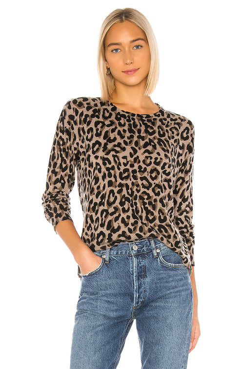Sundry Leopard Cashmere Blend Crew Neck Sweater