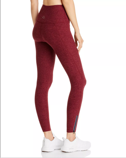 Beyond Yoga Spacedye Zip Hem Leggings Burgundy