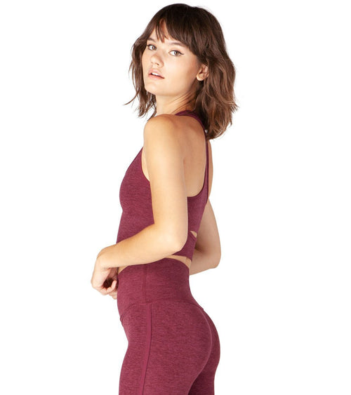 Beyond Yoga Spacedye Slip Open Cropped Yoga Tank Burgundy