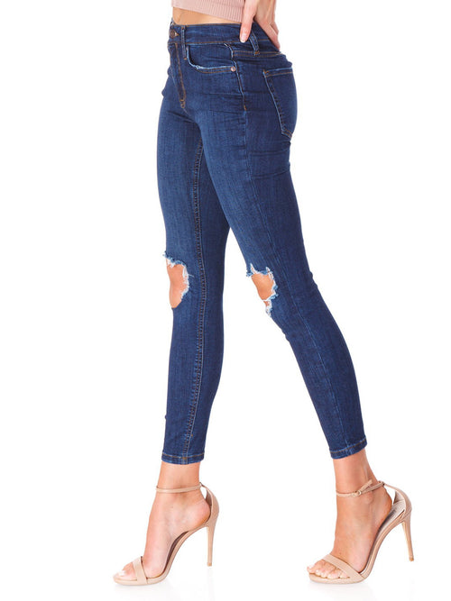 Free People Busted Skinny Short Jeans