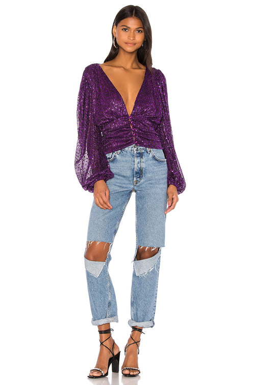 For Love and Lemons La Villette Cropped Blouse Top