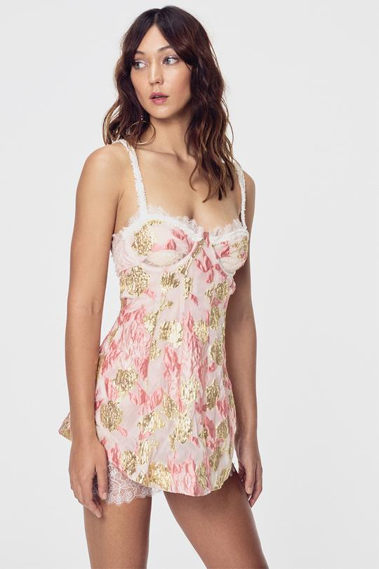 For Love and Lemons Madame Brocade Cut Out Dress
