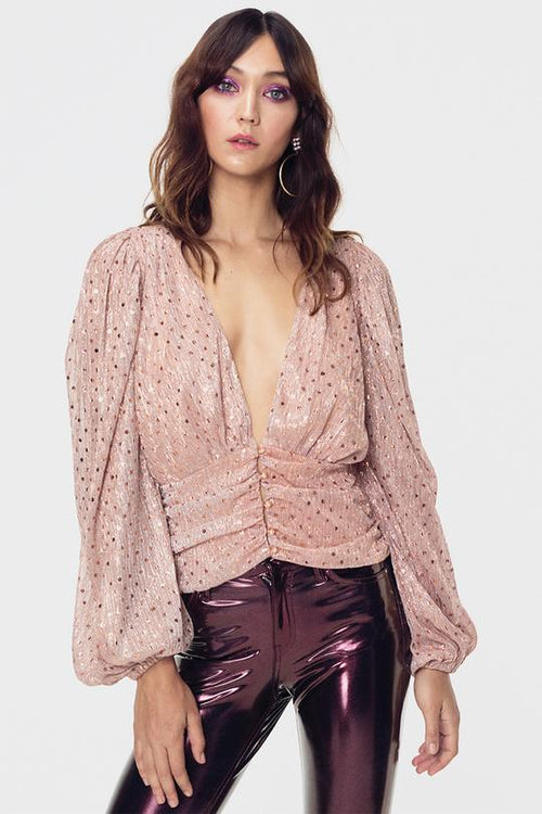 For Love and Lemons La Villette Cropped Blouse Top Champagne