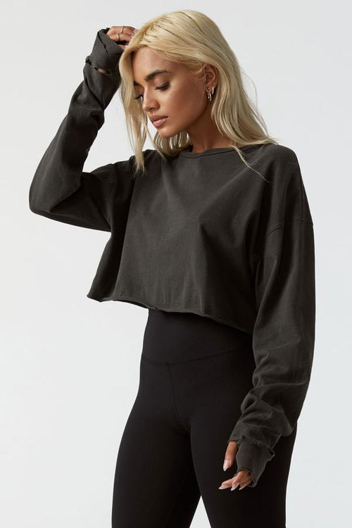 Joah Brown Soho Cropped Pullover Sweater Wash Black