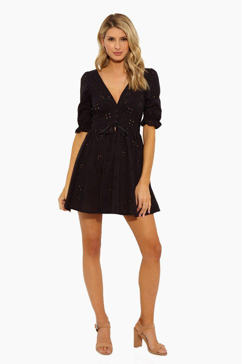 For Love and Lemons Eyelet Swing Dress Black