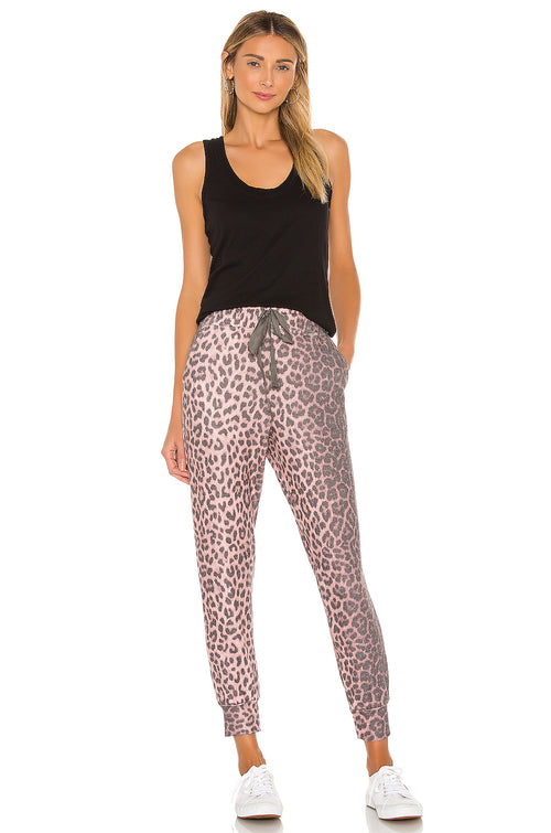 Sundry Animal Print Pocket Jogger Pant Pink