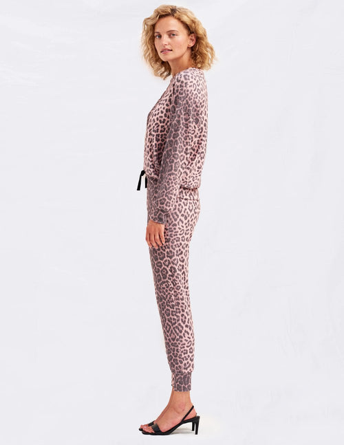 Sundry Animal Print Drapey Sweater Pink