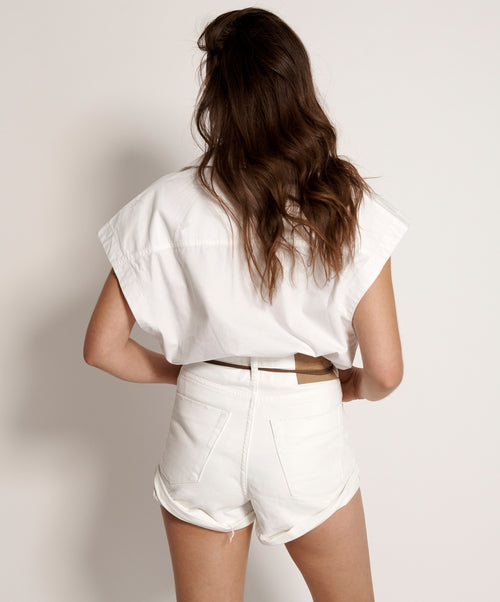 One Teaspoon White Beauty High Waist Bandits Jean Short
