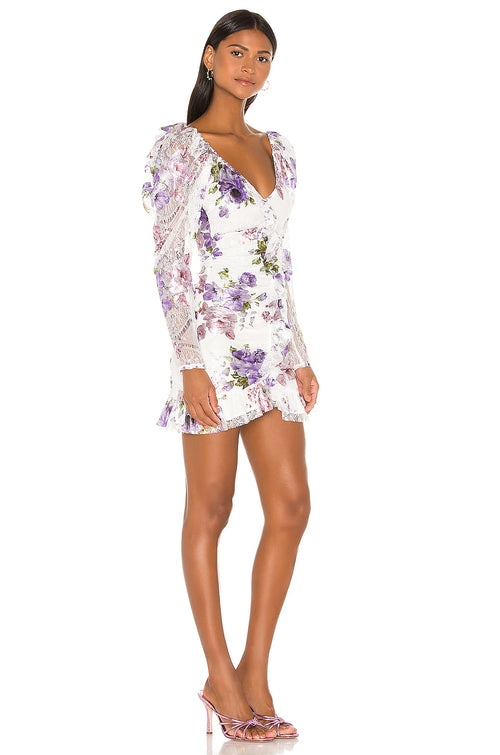 For Love and Lemons Wildflower Foil Lace Mini Dress Lavender