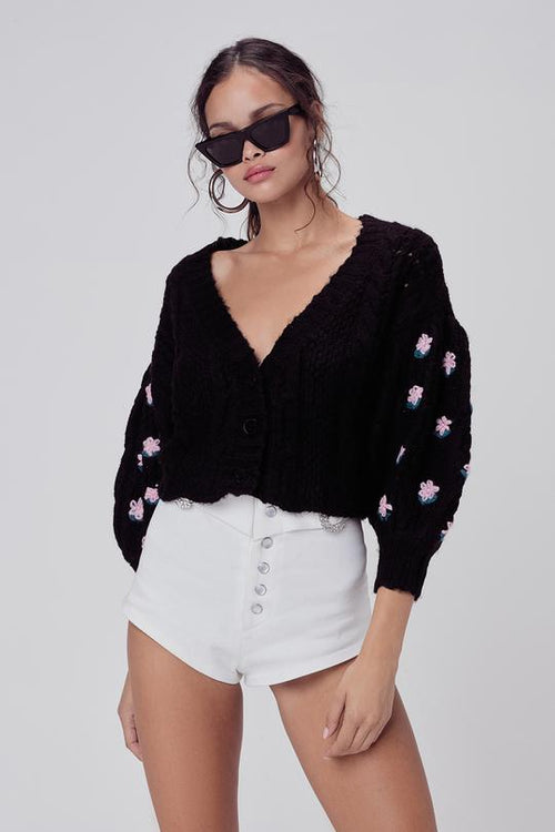 For Love and Lemons Savannah Cropped Cardigan Sweater