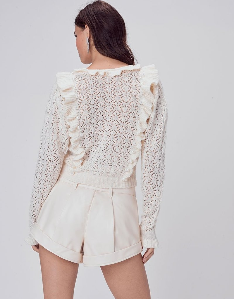 For Love and Lemons Pearl V Neck Sweater