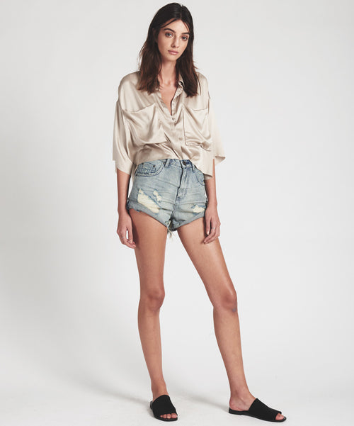 One Teaspoon Blue Storm High Waist Bandits Jean Shorts
