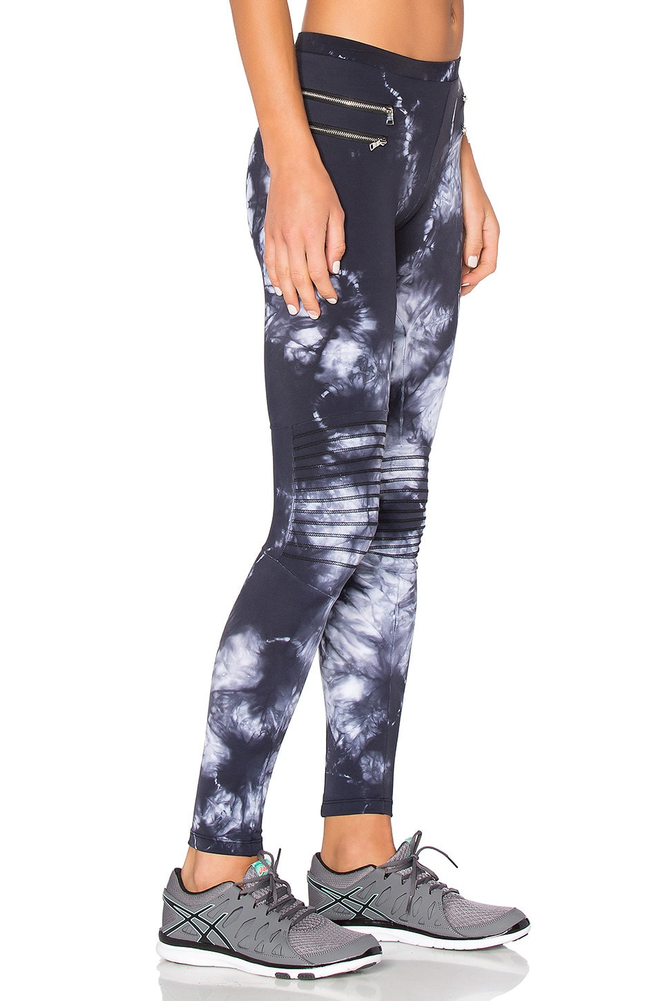 Blue Life Tie Dye Zipper Moto Legging