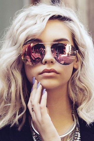 Quay Muse Gold Pink Mirror Sunglasses