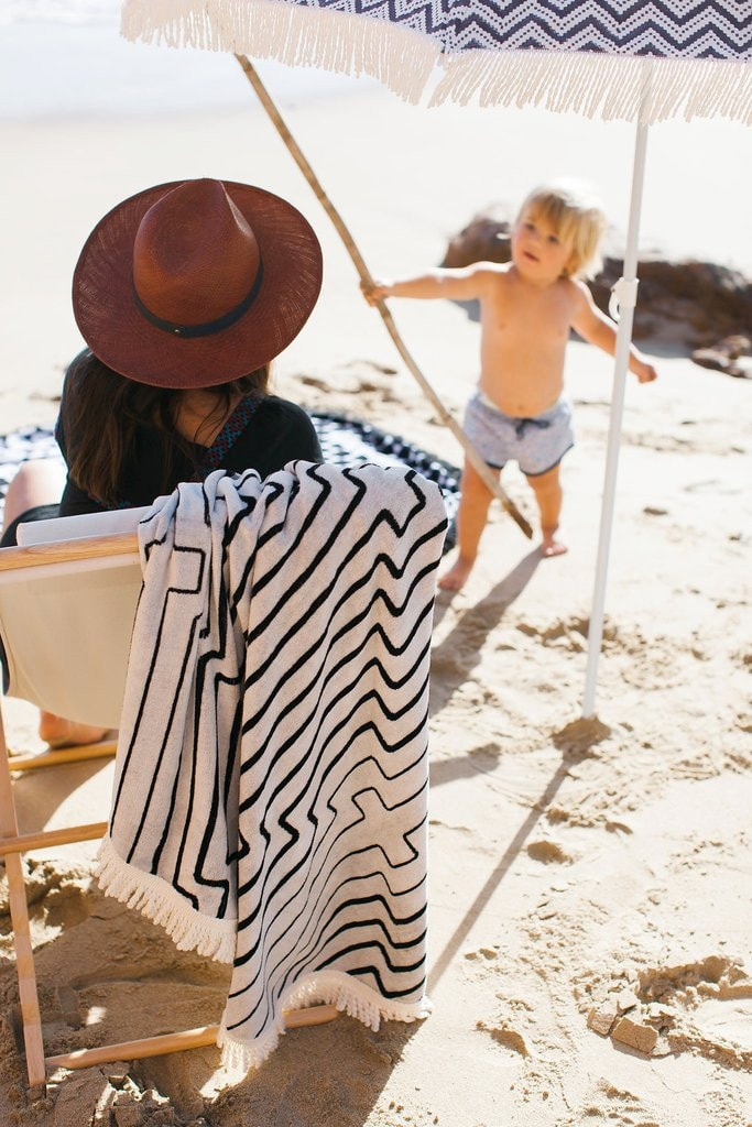 Shop Strands Beach Towel Roundie Black White