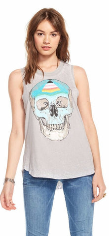 Chaser Skull Open Back Muscle Tank