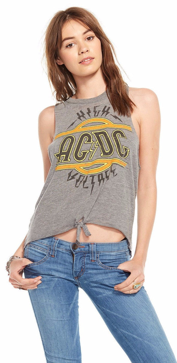 Chaser ACDC Tie Front Muscle  Tee