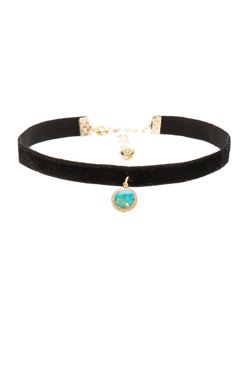 Vanessa Mooney Black Velvet Choker with Turquoise Circle Charm