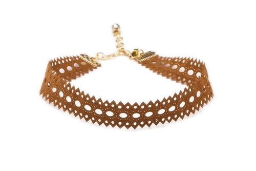 Vanessa Mooney Camel Suede Cut-Out Choker
