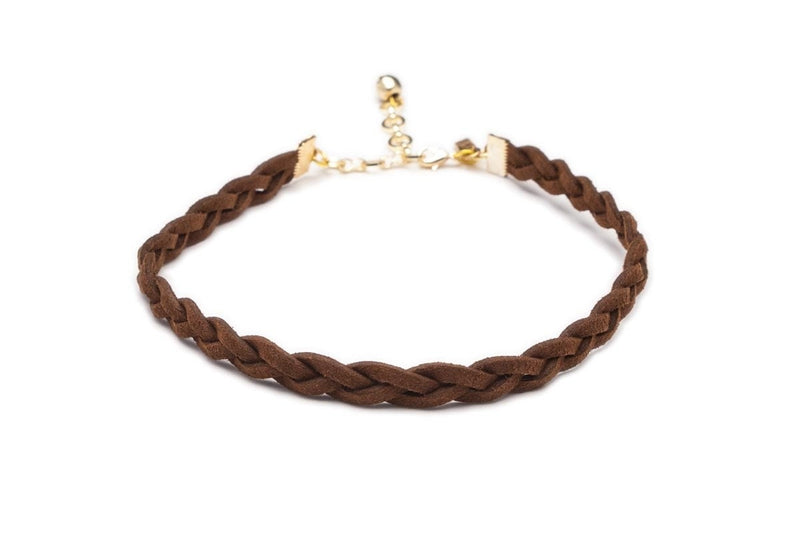 Vanessa Mooney Braided Suede Choker Brown