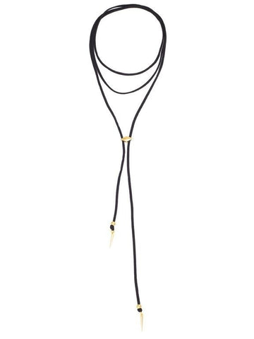 Vanessa Mooney Black Suede Bolo Necklace