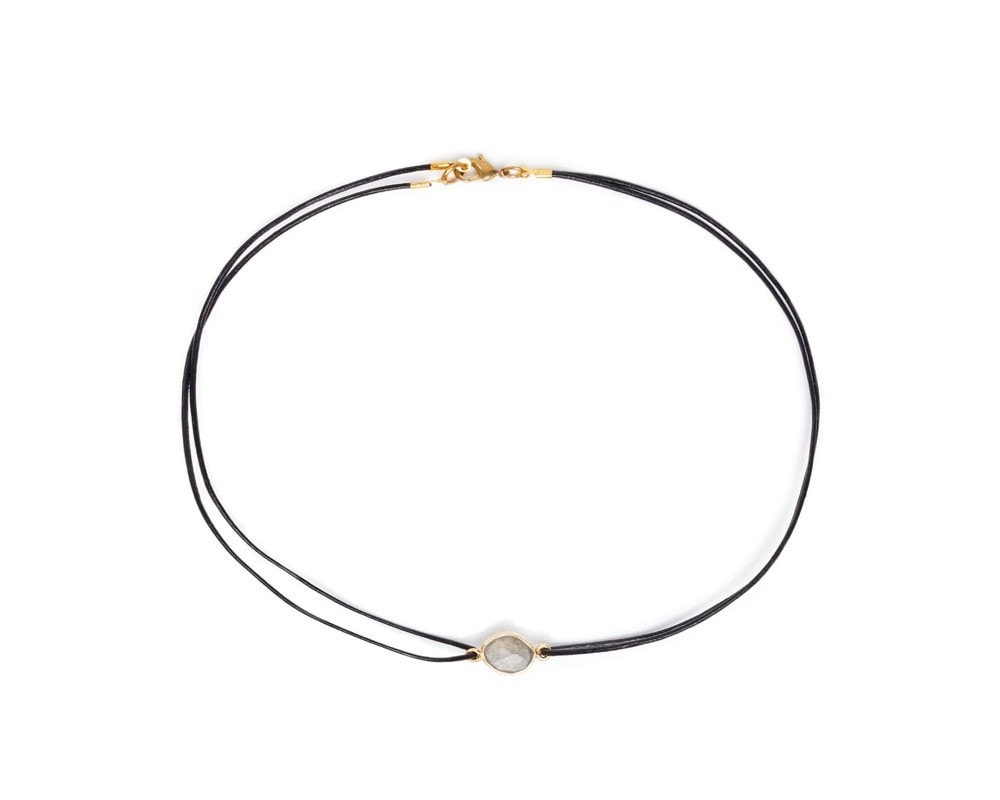 cb96969d7a2 Vanessa Mooney The Maiden Moonstone Double Leather Choker - Gold – Bliss  Bandits