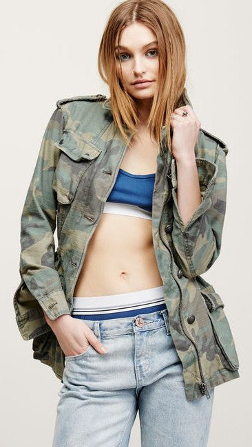 Free People Not Your Brother's Camo Green Jacket