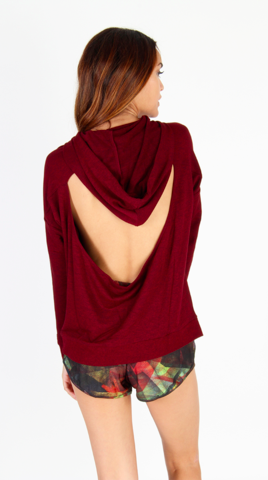 Onzie Drop Back Hoodie Burgundy Sweater