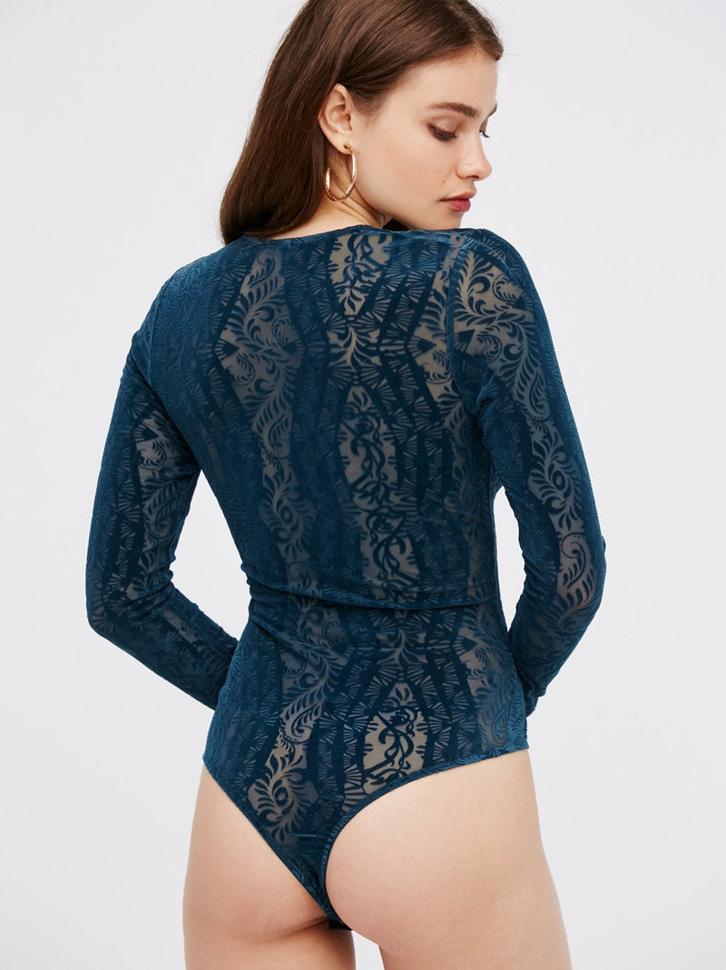Free People On The Dance Floor Velvet Bodysuit