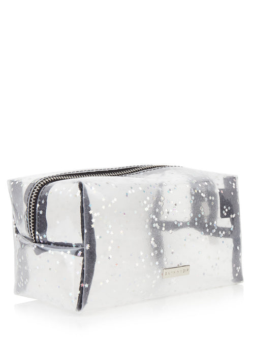 Skinny Dip Clear Glitter Make Up Bag