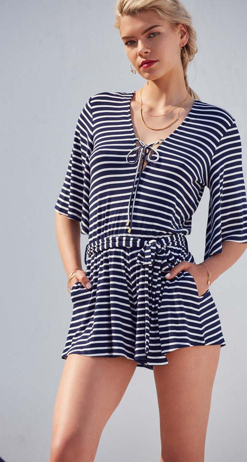 Lovers + Friends Cruiser Romper Navy Stripe