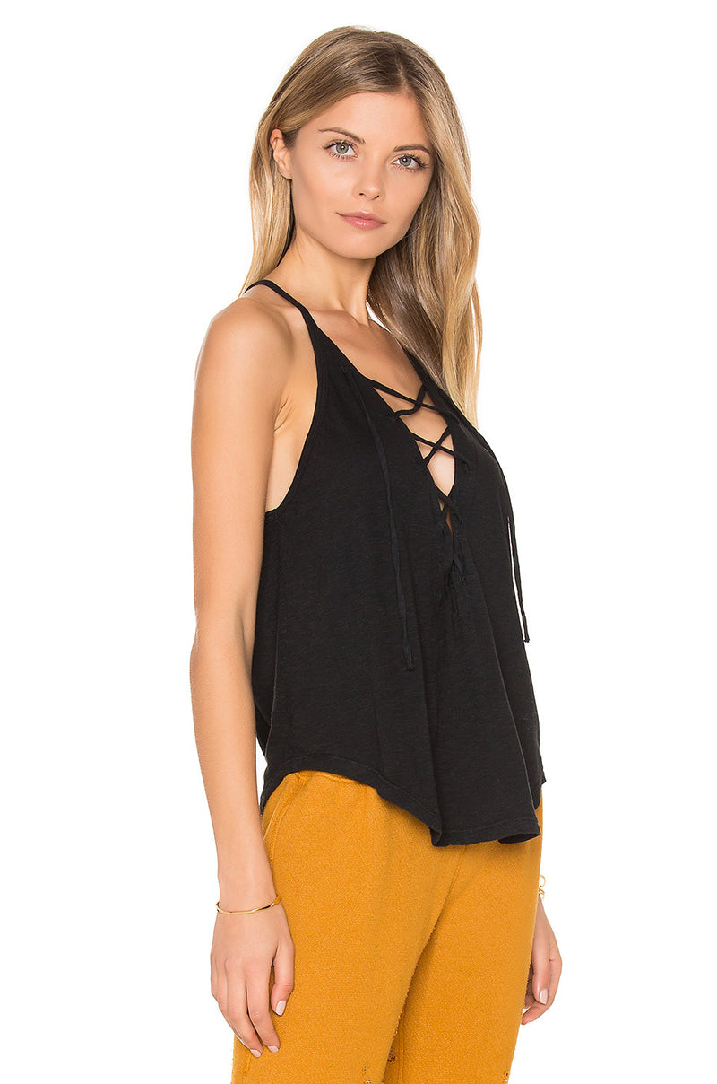 LNA Lace Up Tank Top Black