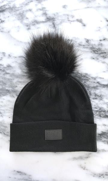 Sweat Active Cashmere Beanie with Fur Pom Pom Black