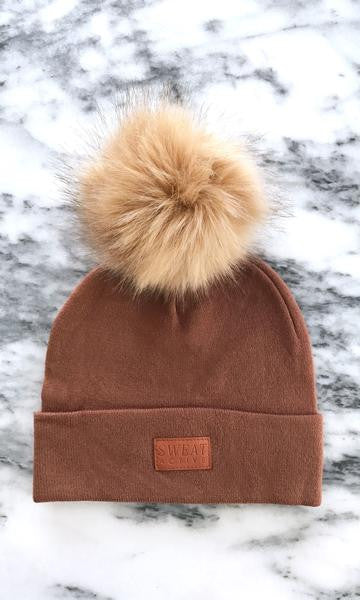 Sweat Active Cashmere Beanie with Fur Pom Pom Clay