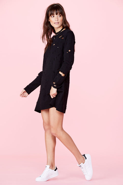 LNA Destroyed Sweatshirt Dress Black