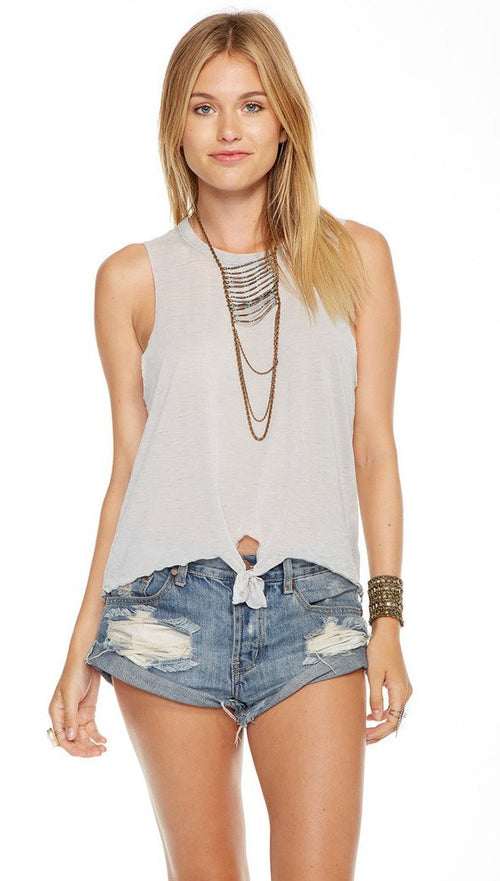 Chaser Jersey Tie Front Tank Top Grey