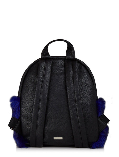Skinny Dip Charlie Navy Fur Mini Backpack