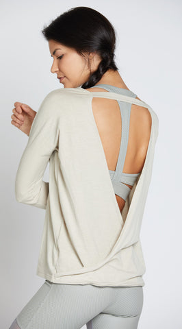 Onzie Drapey V-Back Sweater Taupe