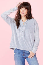 LNA Lace Up Hoodie Sweater Terry
