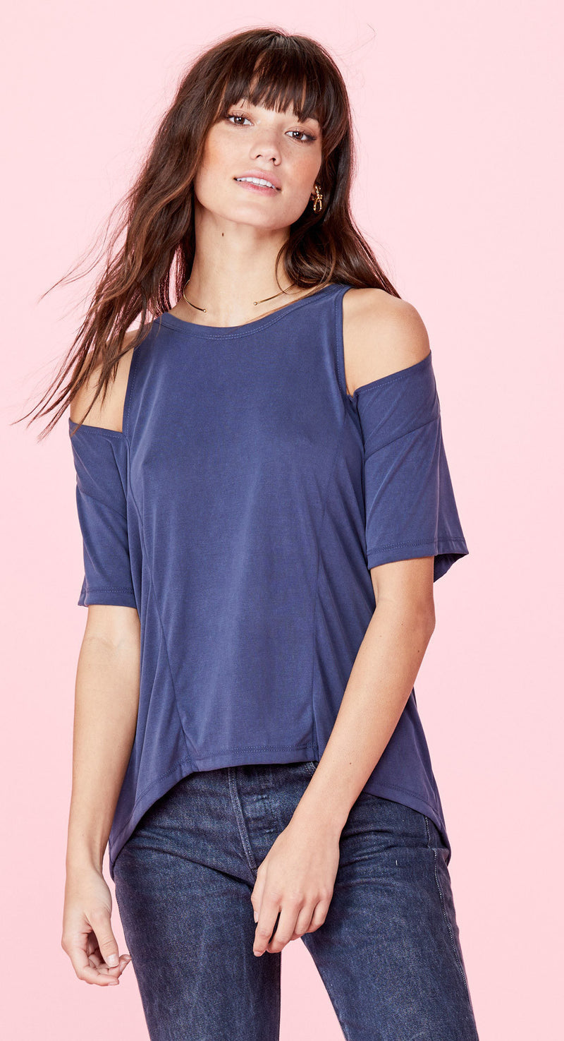LNA Short Sleeve Slice Top Sueded Navy