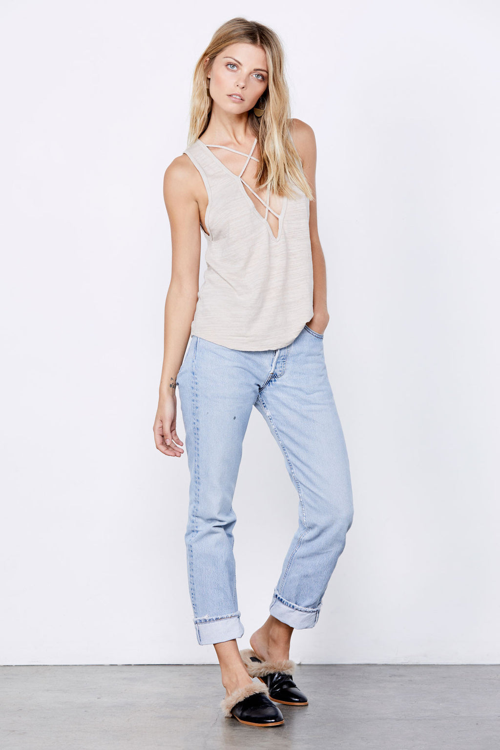 LNA Double Cross Tank Oatmeal