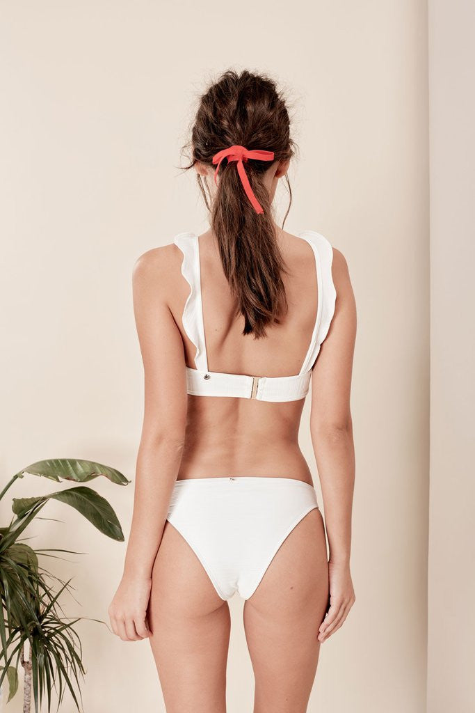 For Love and Lemons La Playa Ruffle Swim Top
