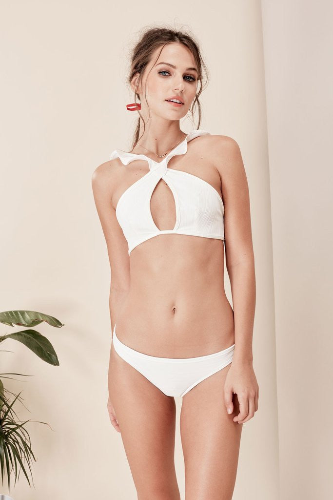 For Love and Lemons La Playa Swim Bottom White