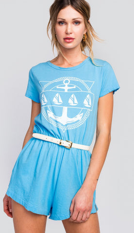 Wildfox Yachting Emblem Cruise Romper