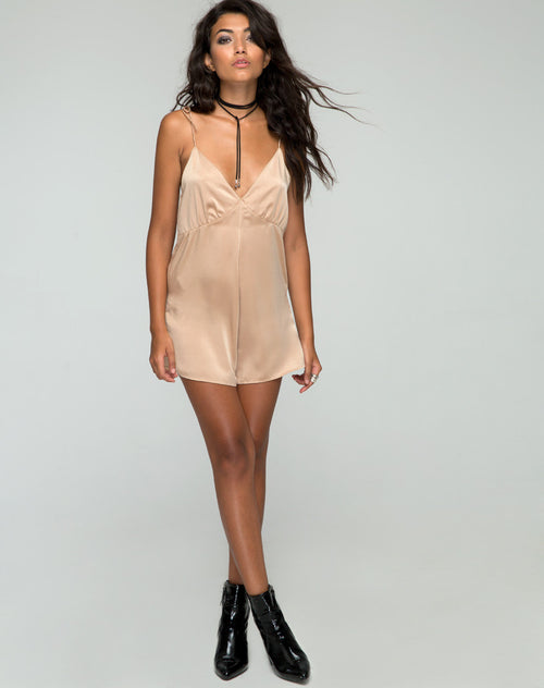 Motel Katsma Satin Gold Playsuit Romper