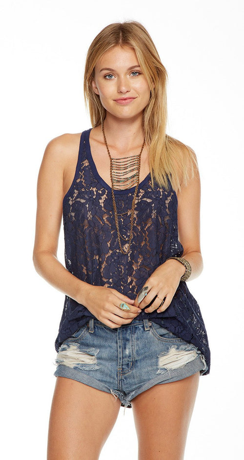 Chaser Lace Racer Back Tank Top
