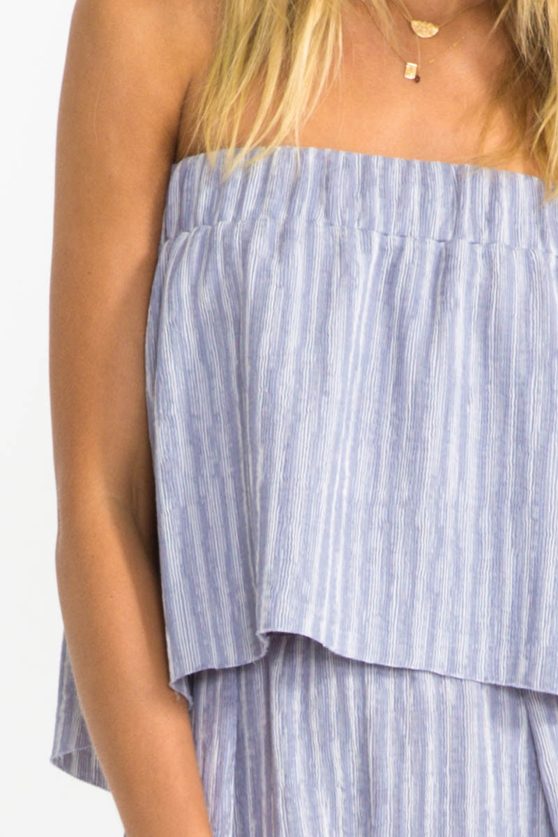 Suboo Twilight Sky Strapless Pleat Top
