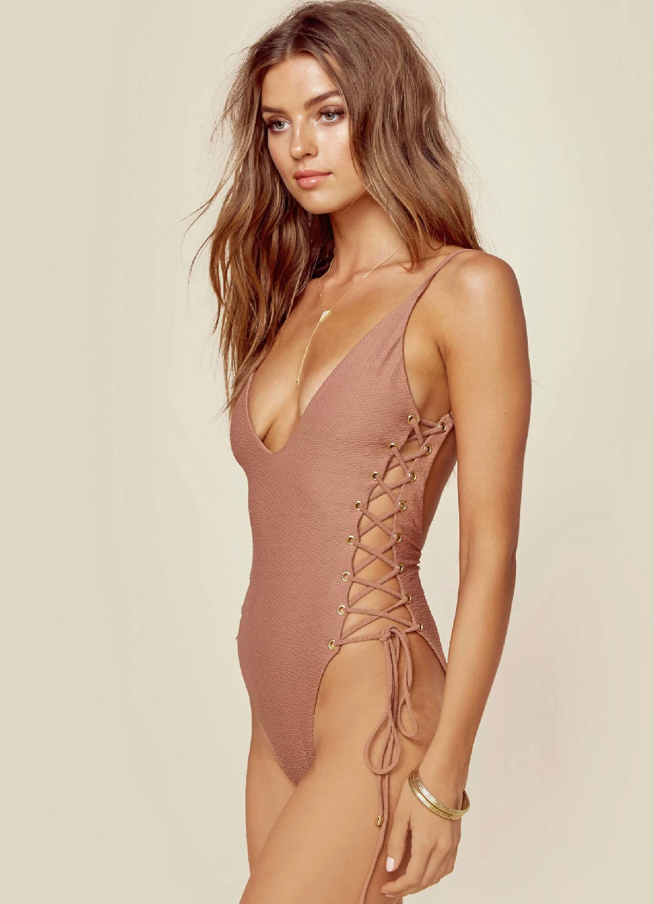Blue Life Roped Up Swim One Piece Cacao