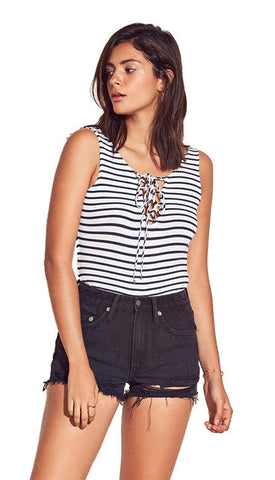 Lovers + Friends Allie Bodysuit Navy Stripe